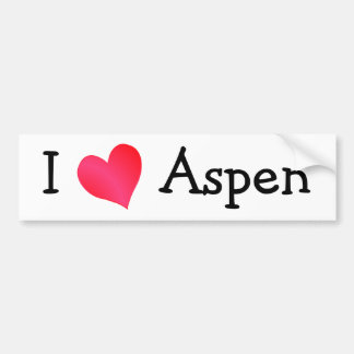I Love Aspen Bumper Sticker