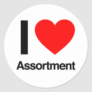 i love assortment round sticker