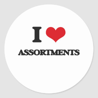 I Love Assortments Round Sticker