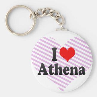 I love Athena Basic Round Button Key Ring