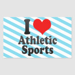 I love Athletic Sports Rectangle Stickers