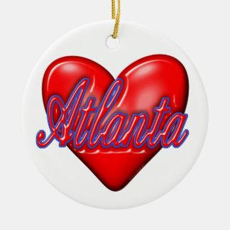 I Love Atlanta Round Ceramic Decoration