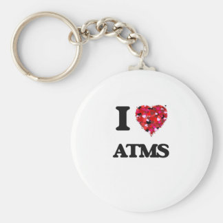 I Love Atms Basic Round Button Key Ring