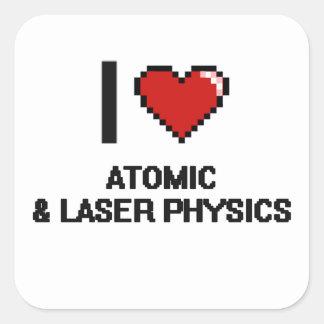 I Love Atomic & Laser Physics Digital Design Square Sticker