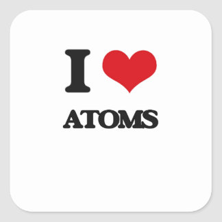 I Love Atoms Square Stickers
