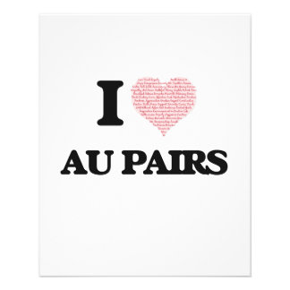 I love Au Pairs (Heart made from words) 11.5 Cm X 14 Cm Flyer
