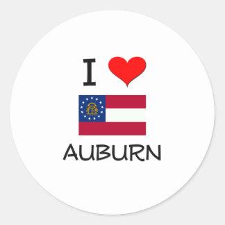 I Love AUBURN Georgia Round Stickers