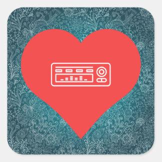 I Love Audio Equipment Icon Square Sticker