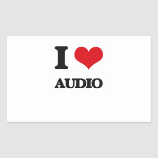 I Love Audio Rectangle Stickers
