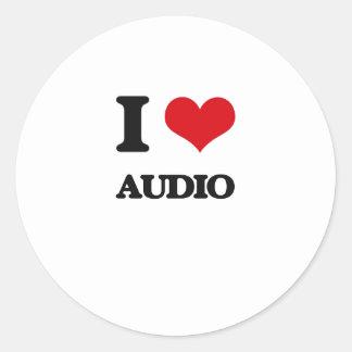 I Love Audio Round Stickers