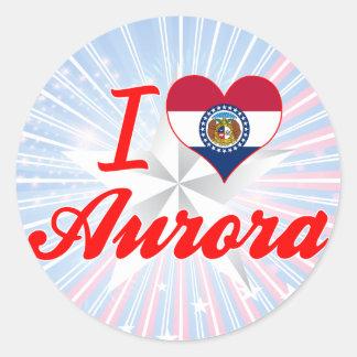 I Love Aurora, Missouri Round Stickers