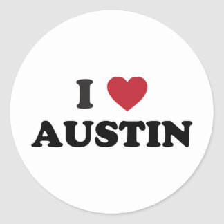 I Love Austin Classic Round Sticker