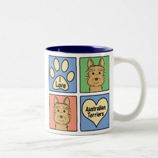 I Love Australian Terriers Two-Tone Coffee Mug