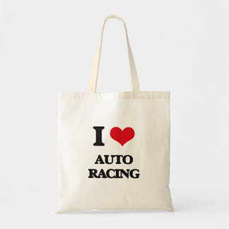 I Love Auto Racing Canvas Bags