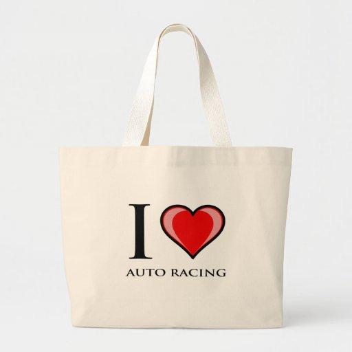 I Love Auto Racing Canvas Bag