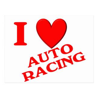I Love Auto Racing Postcard