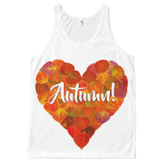 I Love Autumn, Bold—Red Aspen Leaf Heart 1 All-Over Print Tank Top