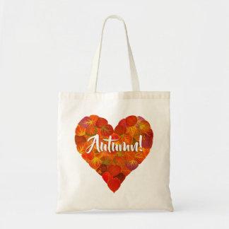 I Love Autumn, Bold—Red Aspen Leaf Heart 1 Tote Bag