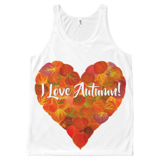 I Love Autumn!—Red Aspen Leaf Heart 1 All-Over Print Tank Top