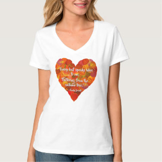 I Love Autumn—Red Aspen Leaf Heart 1, Brontë Quote T-Shirt