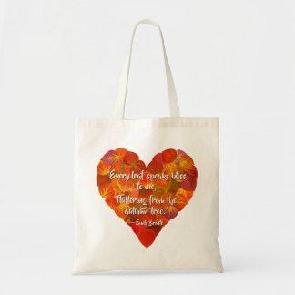I Love Autumn—Red Aspen Leaf Heart 1, Brontë Quote Tote Bag