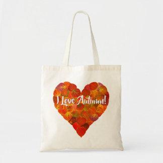 I Love Autumn!—Red Aspen Leaf Heart 1 Tote Bag