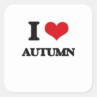 I Love Autumn Square Sticker