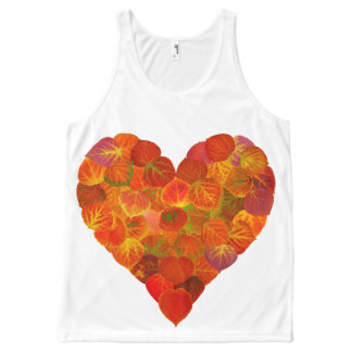 I Love Autumn, Subtle—Red Aspen Leaf Heart 1 All-Over Print Tank Top