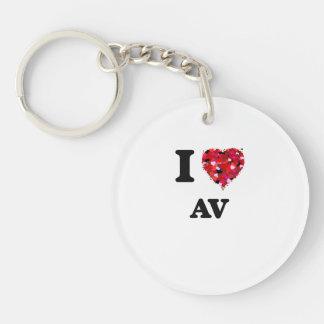 I Love Av Single-Sided Round Acrylic Key Ring