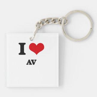 I Love Av Square Acrylic Keychains