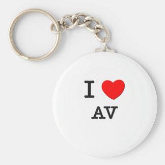 I Love Av Basic Round Button Key Ring