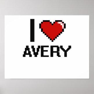 I Love Avery Digital Retro Design Poster