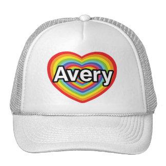 I love Avery, rainbow heart Trucker Hat