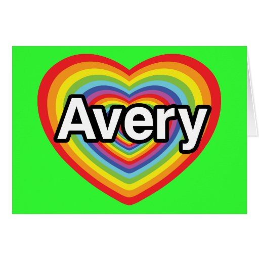 I love Avery, rainbow heart Cards