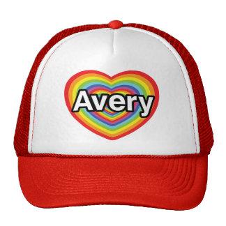 I love Avery, rainbow heart Hats