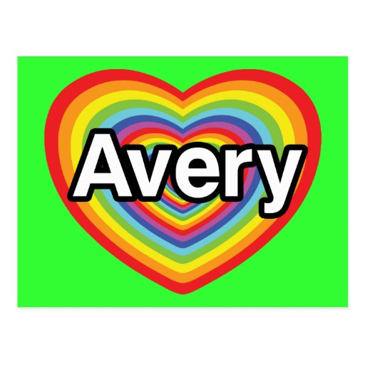 I love Avery, rainbow heart Postcards