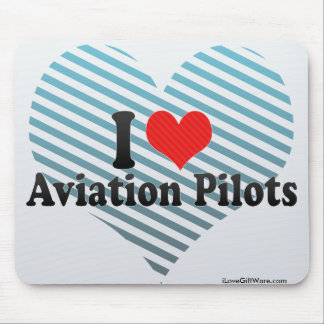 I Love Aviation Pilots Mouse Pads