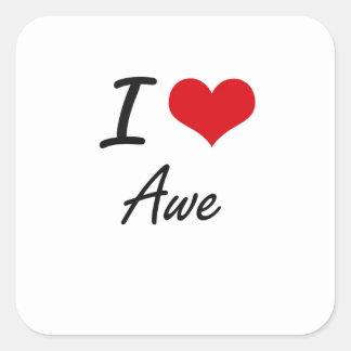 I Love Awe Artistic Design Square Sticker