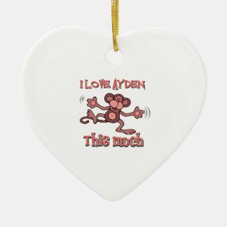 I love AYDEN this much Ceramic Heart Decoration