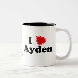 I Love Ayden Two-Tone Coffee Mug