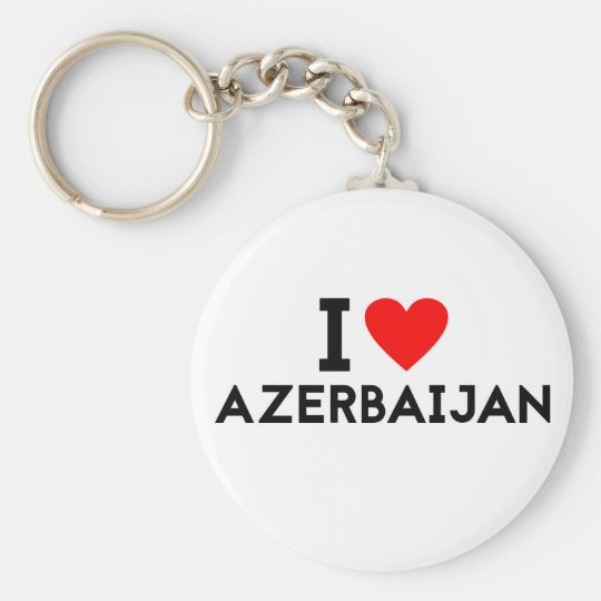 i love Azerbaijan country nation heart symbol text Basic Round Button Key Ring