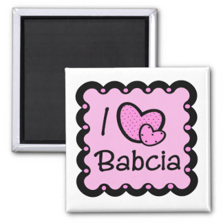 I Love Babcia Cute T-Shirt Square Magnet