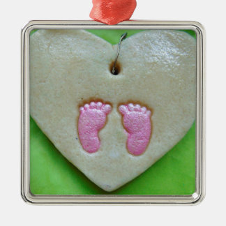 I love baby feet Silver-Colored square decoration