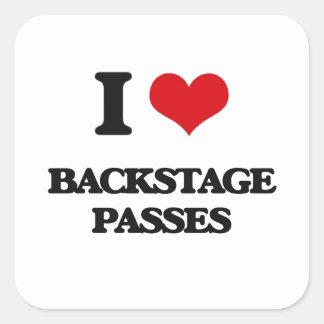 I Love Backstage Passes Square Sticker