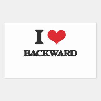I Love Backward Rectangular Sticker