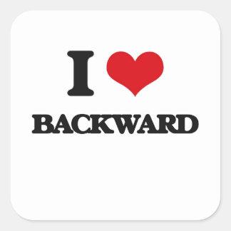 I Love Backward Square Sticker