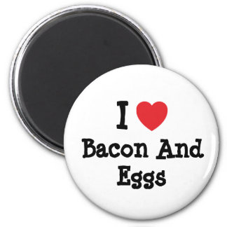 I love Bacon And Eggs heart T-Shirt 6 Cm Round Magnet