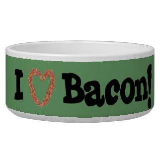 I Love Bacon - Customizable Dog Bowl