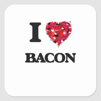 I Love Bacon food design Square Sticker