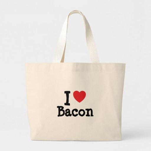 I love Bacon heart T-Shirt Jumbo Tote Bag